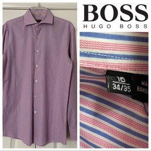16-34/35 Lt Blue/Pink/White Striped Long Sleeve